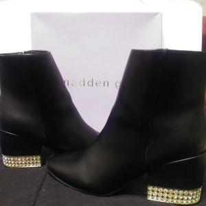 Madden Girl Black Rhinestone & Gold Heel Boots
